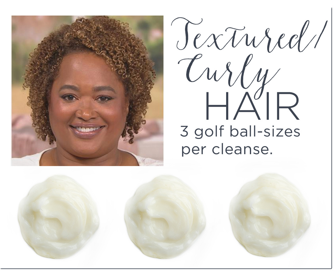 Textured/Curly Hair - 3 golf ball-sizes per cleanse.