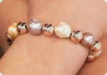 This Honora Bracelet Exquisitely Contrasts Brightly Polished Blush Bronze Beads With Naturally Colored Ming Cultured Freshwater Pearls