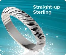 UltraFine(R) silver polished twist-design bangle