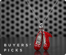 Wizard of Oz sterling crystal ruby slippers pendant with chain