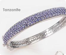 Sterling tanzanite pave bangle