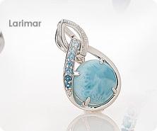 Sterling round Larimar & multi-gemstone enhancer