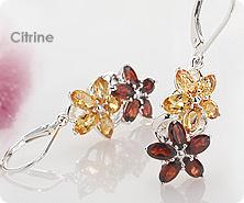Sterling multi-gemstone floral earrings