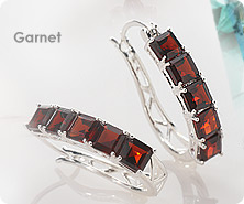 Sterling princess-cut gemstone earrings