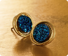 VicenzaGold(TM) 14K Gold Drusy Quartz Stud Earrings