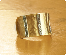 Adi Paz(R) 14K Gold Diamond-Accent Hammered Ring