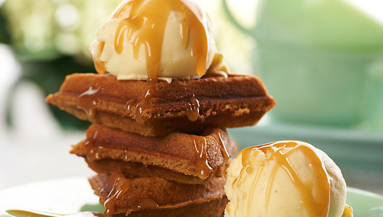 Gingerbread Waffles & Eggnog Ice Cream