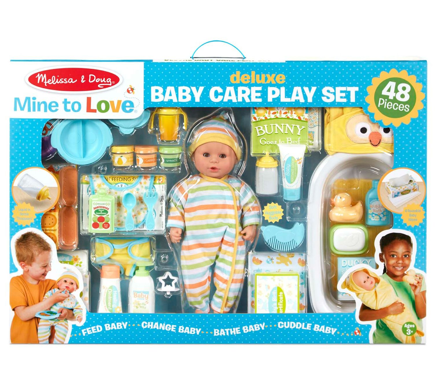 Melissa Doug Mine To Love Deluxe Baby Care Play Set Qvc Com