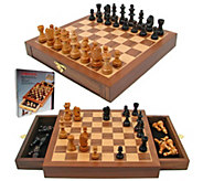 Inlaid Chess Board with Magnetic Staunton Wood Chess Pieces - T129075