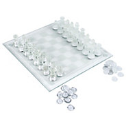 Hey! Play! Elegant Glass Chess and Checker Boar d Set - T129077