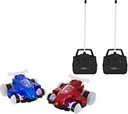 HoverQuads Set of 2 Remote Control Stunt Cars with Lights - T35283
