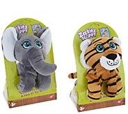 Zookiez Set of Two Mini Wrap Around Plush Animal Friends - T35599