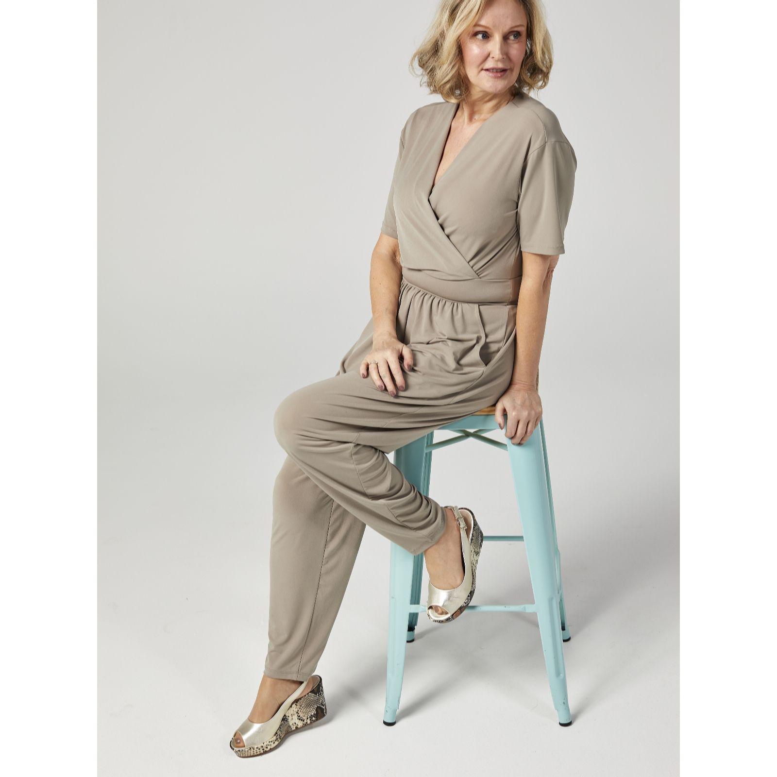 4a3663b2f013 Kim   Co Brazil Jersey Short Sleeve Jumpsuit - Page 1 - QVC UK