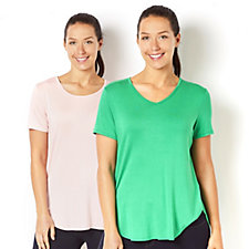 Antthony Designs 2 Pack of Short Sleeve Dipped Hem Tops