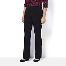 Kim & Co Silky Brazil Knit Pin Tuck Fit Flared Trousers Petite Length