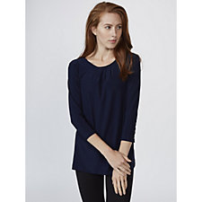 3/4 Sleeve Scoop Neck Top with Pleat Detail by Nina Leonard