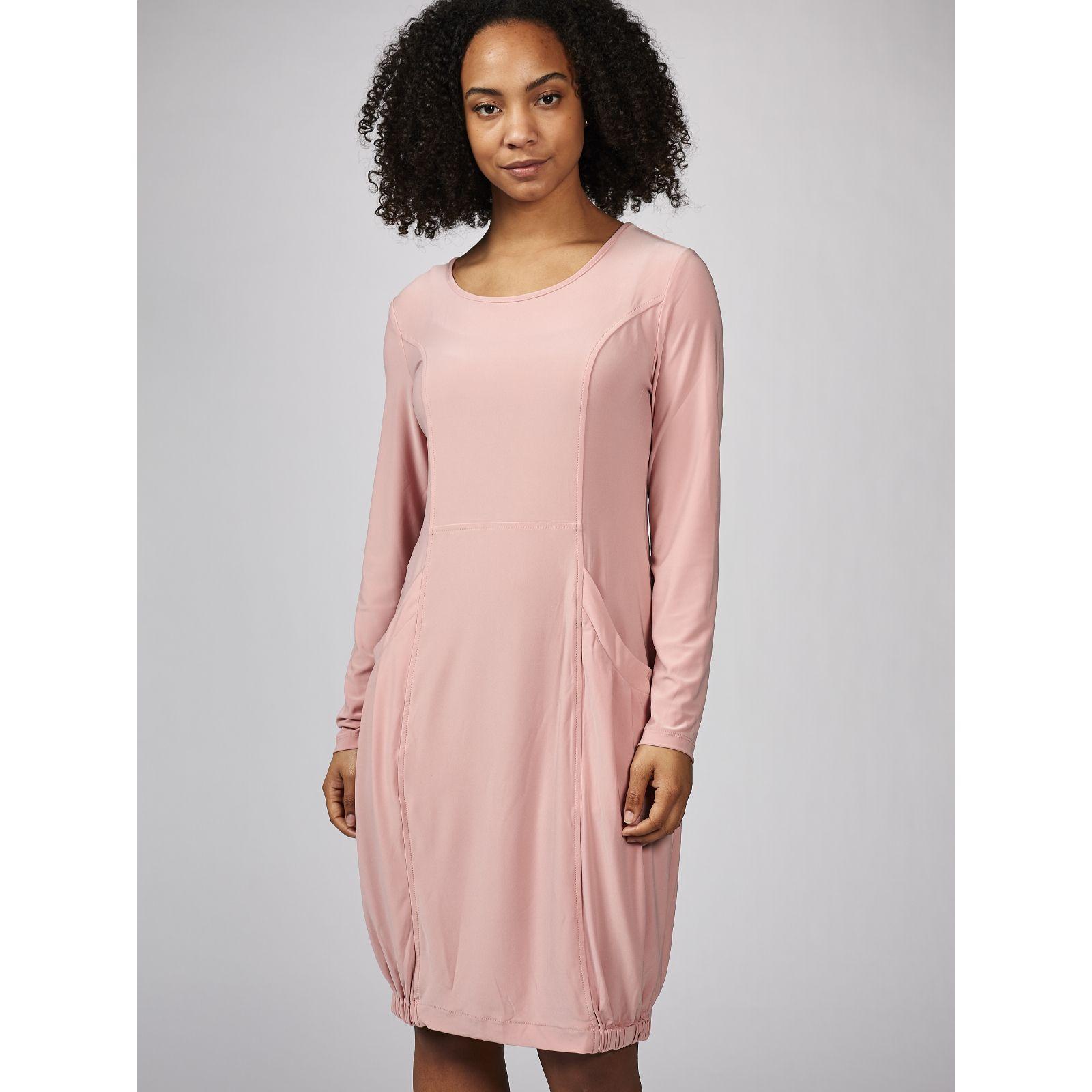 ae3f6665e12 Long Sleeve Dress with Elasticated Hem   Front Pockets by Nina ...