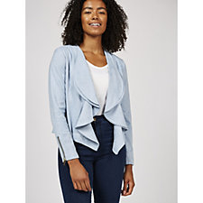Andrew Yu Faux Suede Waterfall Front Jacket
