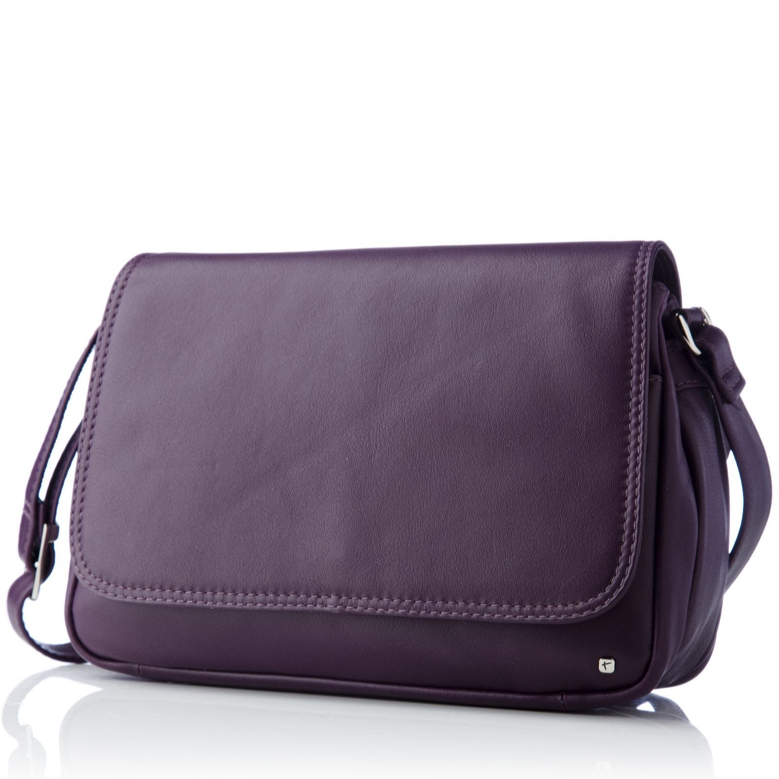 1748a864ce Tula Originals Leather Medium Flapover Cross Body Bag - QVC UK