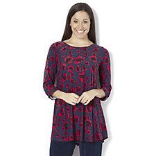 Kim & Co Brushed Venechia Floral 3/4 Sleeve Tunic