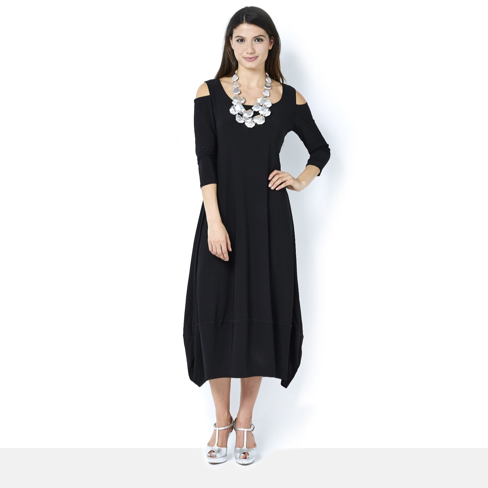 f2c5644ec3832 MarlaWynne Matt Jersey Midi Balloon Dress with Cold Shoulder Detail - QVC UK