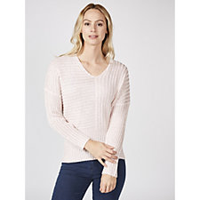 Marble V Neck Jumper with Knitted Rib Detail