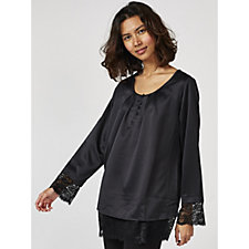 Isaac Mizrahi Live Long Sleeve Lace Trimmed Blouse