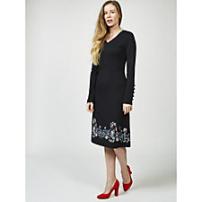 Joe Browns Signature Long Sleeve Floral Print Detail Joe Dress