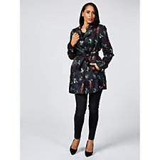 Printed Woven Trench Coat by Susan Graver