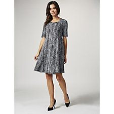 H by Halston Jacquard Knit Fit & Flare Dress