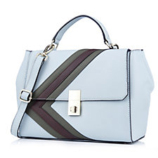 Amanda Lamb Leather Stripe Satchel Bag