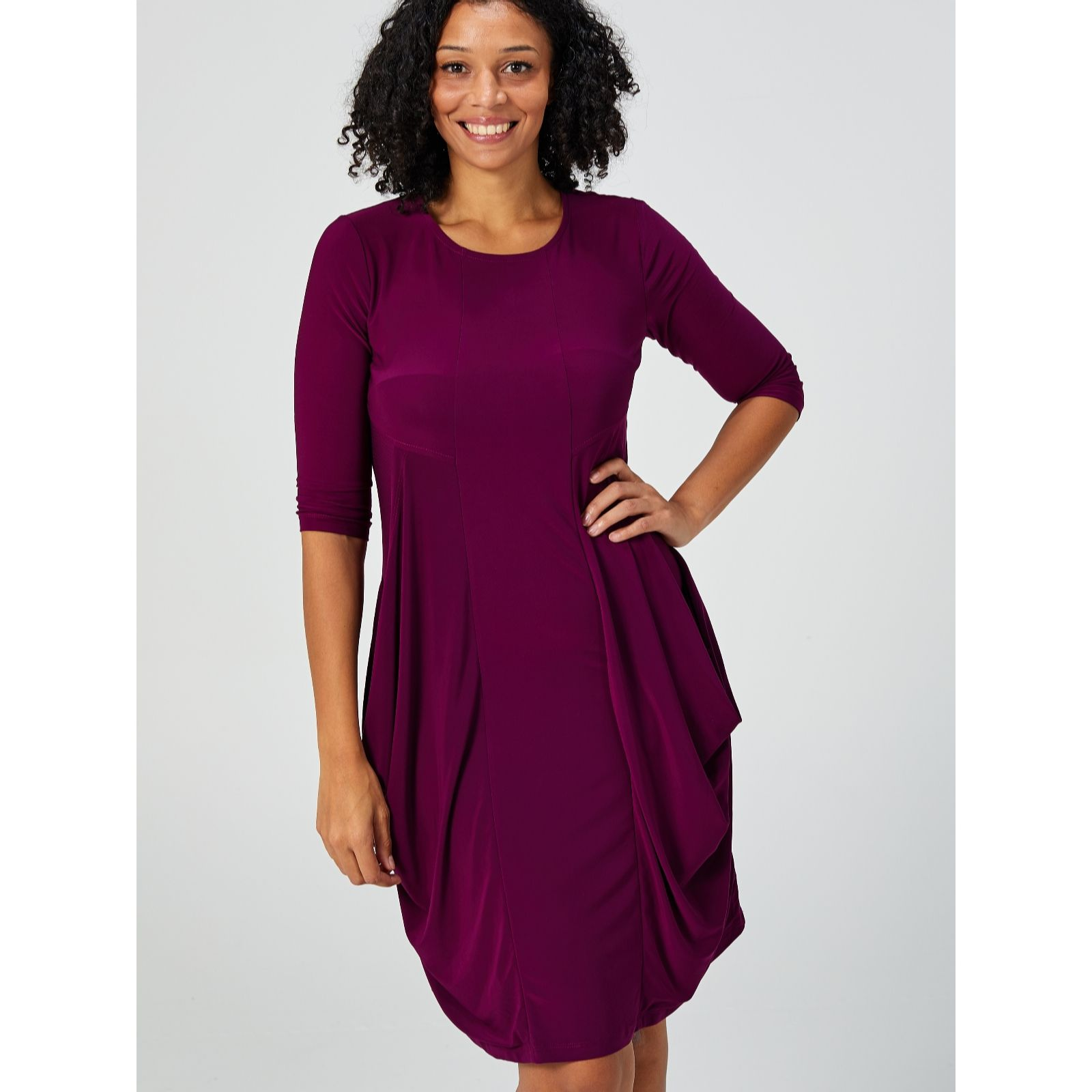 5a9140f35ca 3 4 Sleeve Draped Pocket Dress with Asymmetric Hem by Nina Leonard - QVC UK