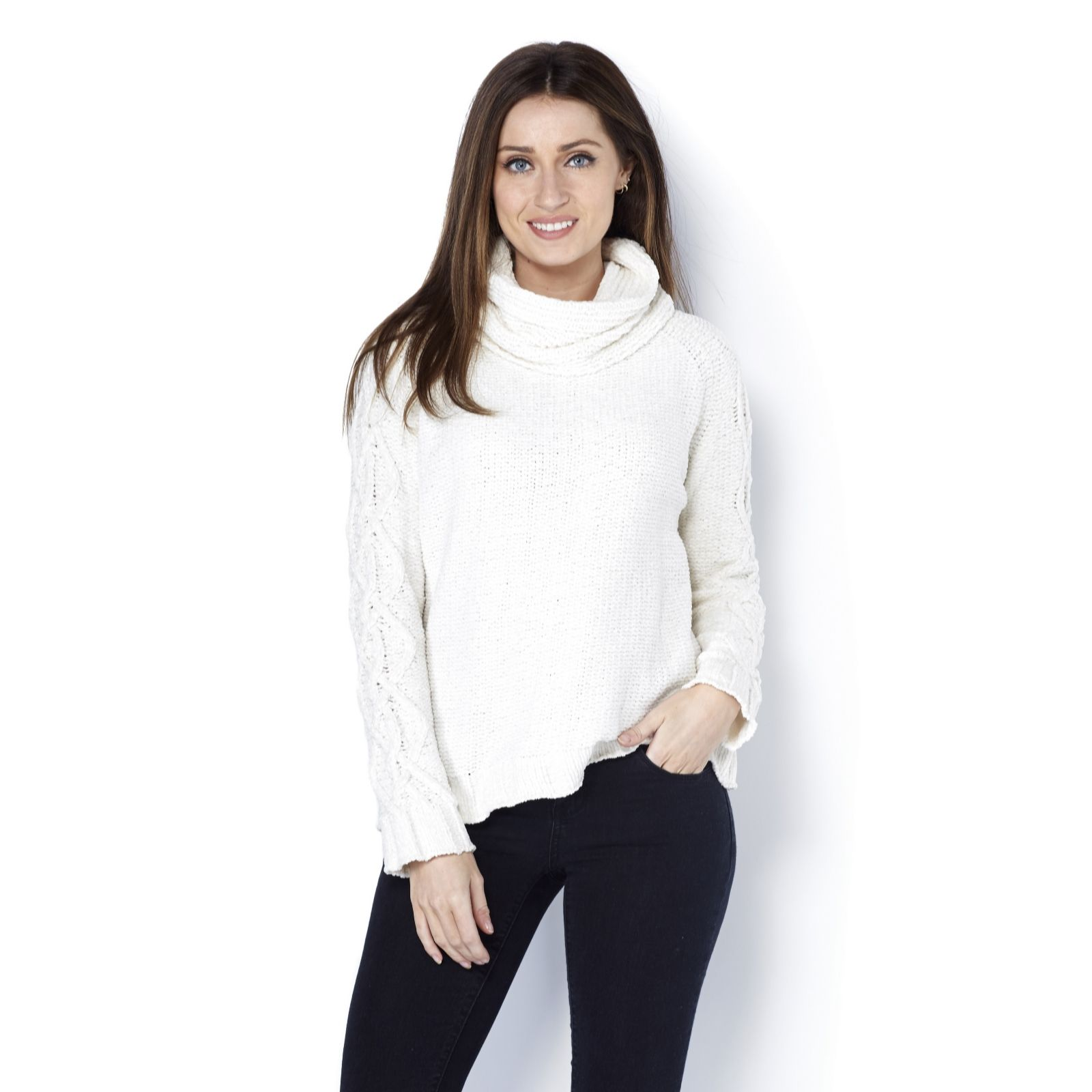 69b3956cf6970 MarlaWynne Chenille Cowl Neck Easy Sweater - Page 1 - QVC UK