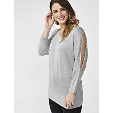 Together Metallised Slit Sleeves Sweater