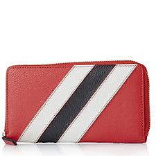 Amanda Lamb Leather Stripe Zip Around Purse