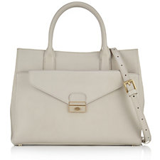 Lulu Guinness Mia Textured Leather Briefcase Bag with Push Down Lock