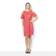 Ronni Nicole Stretch Lace Flutter Sleeve Cold Shoulder Dress