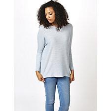V Neck Boxy Sweater Tunic with Hi-Lo Hem by Nina Leonard