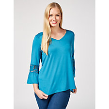 Together Lace Fluted Sleeve Top