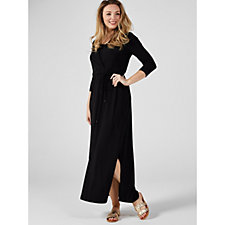 3/4 Sleeve Faux Wrap Maxi Dress by Nina Leonard