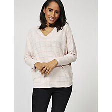 Marble V Neck Sweater with Square Knit Design
