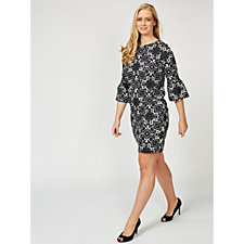 Betty & Co Graphic Print Fluted Sleeve Dress