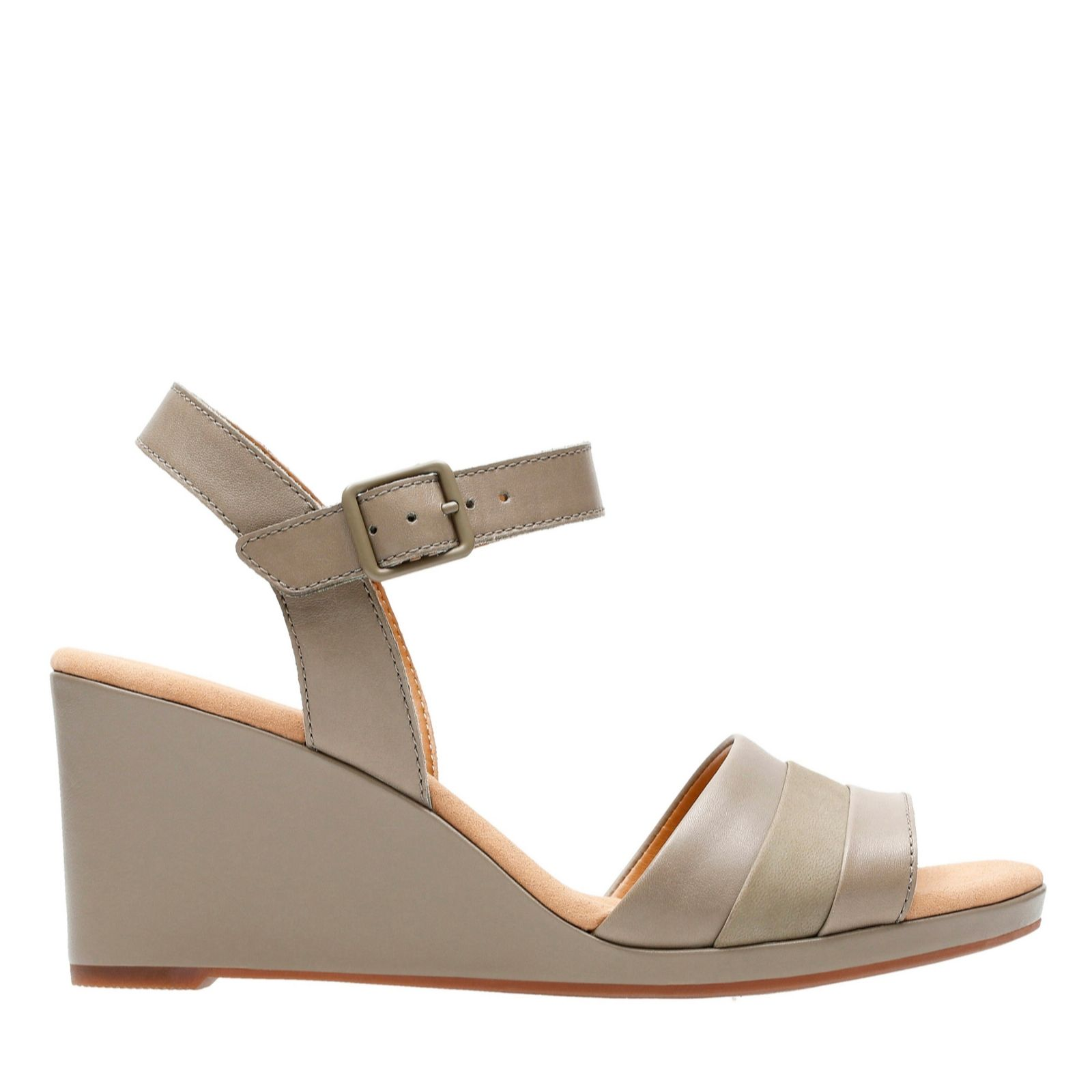 16a2410010a2 Clarks Lafley Aletha Leather Sandal with Wedge Heel Standard Fit - QVC UK