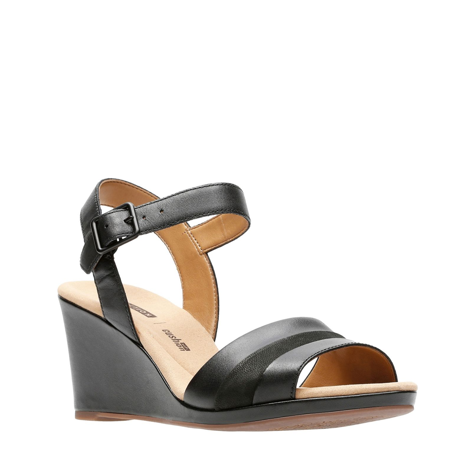 b2a76cd3b5a7 Clarks Lafley Aletha Leather Sandal with Wedge Heel Standard Fit - QVC UK