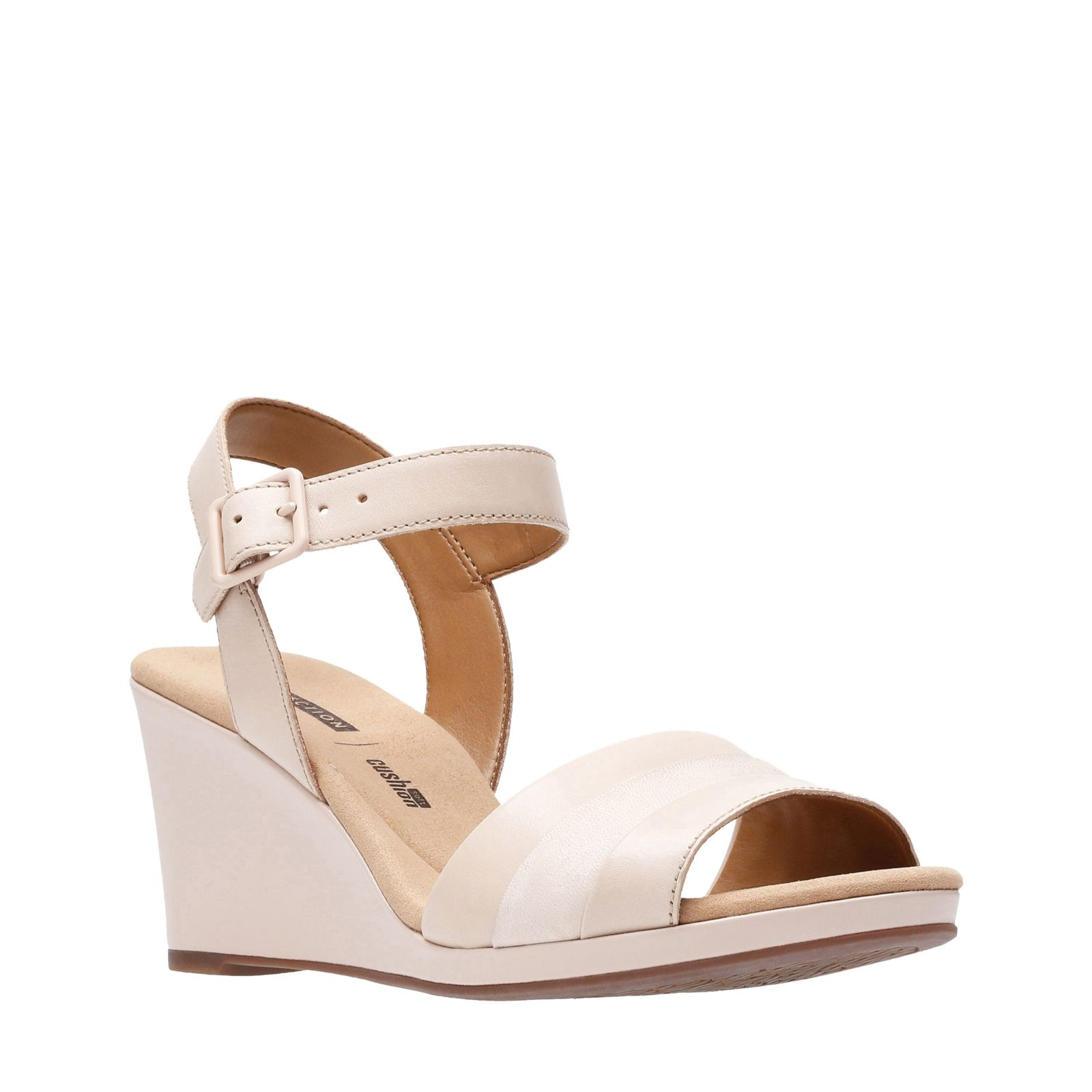 f080650cf571 Clarks Lafley Aletha Leather Sandal with Wedge Heel Standard Fit - QVC UK