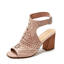 Outlet Marc Fisher Lazer Cut Suede Peep Toe Sandal with Buckle Sling Back