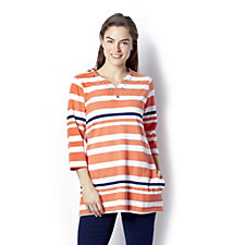 Quacker Factory Striped Knit Grommet Neckline V Neck Tunic with Pockets