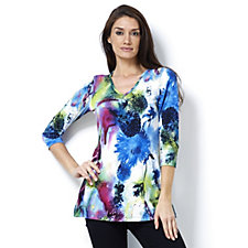 Attitudes by Renee V Neck Printed Tunic
