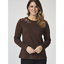 Denim & Co. Round Neck Long Sleeve Top with Embroidery