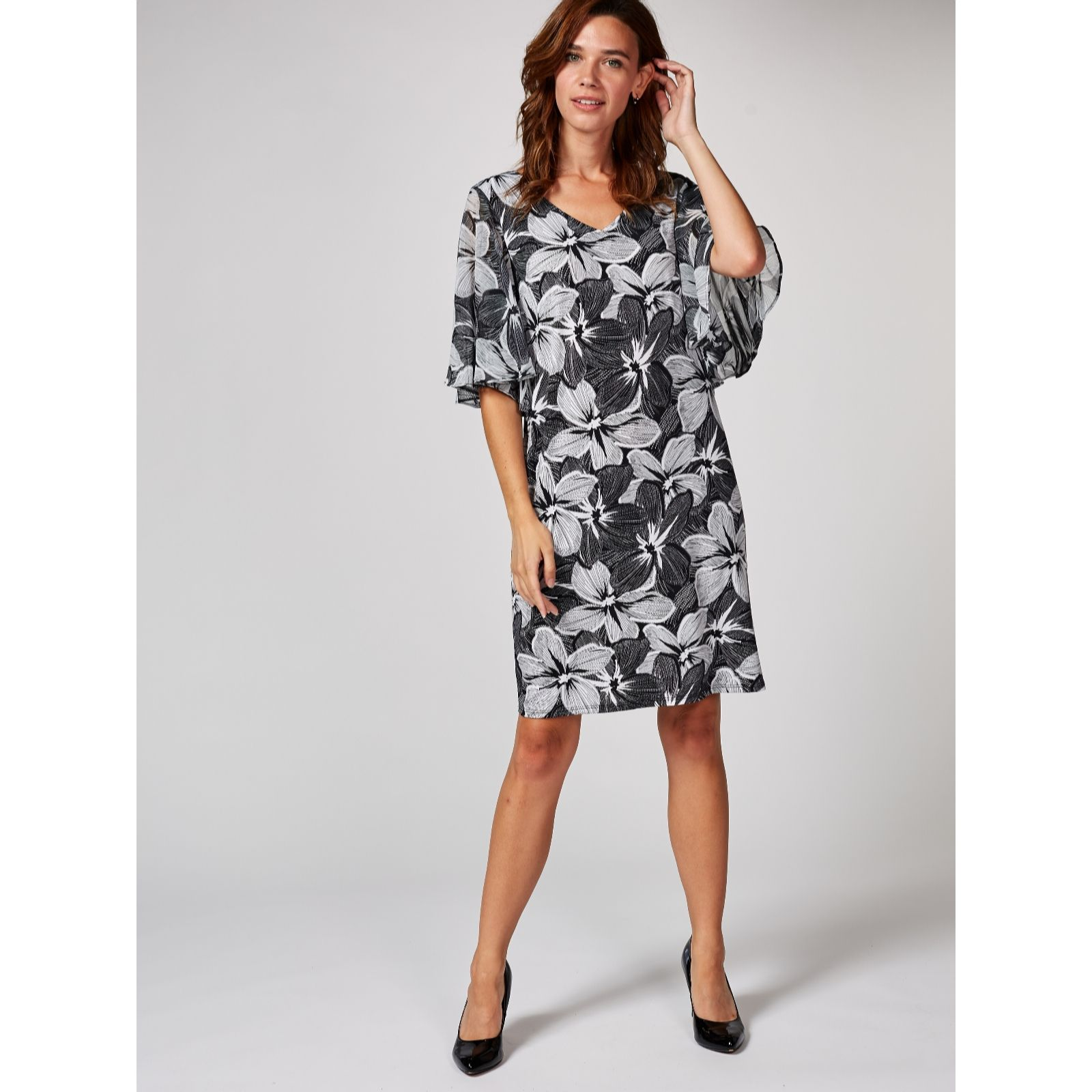 Coco Bianco Printed V Neck Dress With Woven Flutter Sleeves Qvc